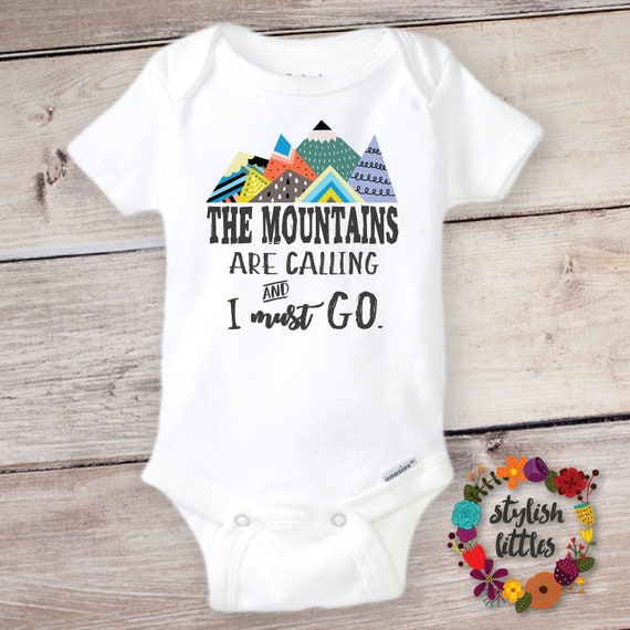 37741d297 Mountains are Calling Onesie ® Funny Cute Onesies Baby Shower