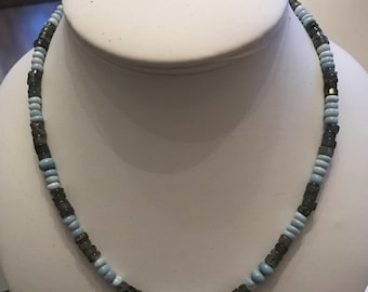 Blue opal and labradorite necklace