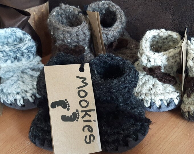 Featured listing image: Mookies, Slippers, Booties, Shoes, Baby, Kids, Teens, Adult, Sheepskin, Soles, Warm, Soft, Handmade, Crochet
