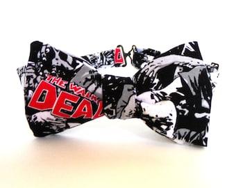 4b8471daadaa Walking Dead Bow Tie Self Tie Zombies Black White Gray Cotton Freestyle  Adjustable Horror Bowtie Necktie Living Dead Scary TV Movie Goth Bow