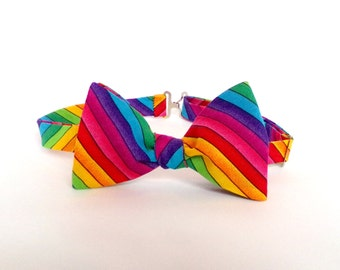 b90156fe3d2f Rainbow Pride Bow Tie Self Tie Striped Bright Multicolored Gay Pride LGBTQ  Colorful Stripes Freestyle Butterfly Adjustable Unisex Bowtie