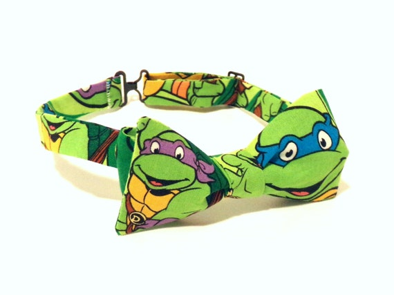 Ninja turtle bow tie self tie green child green cotton etsy like this item ccuart Gallery