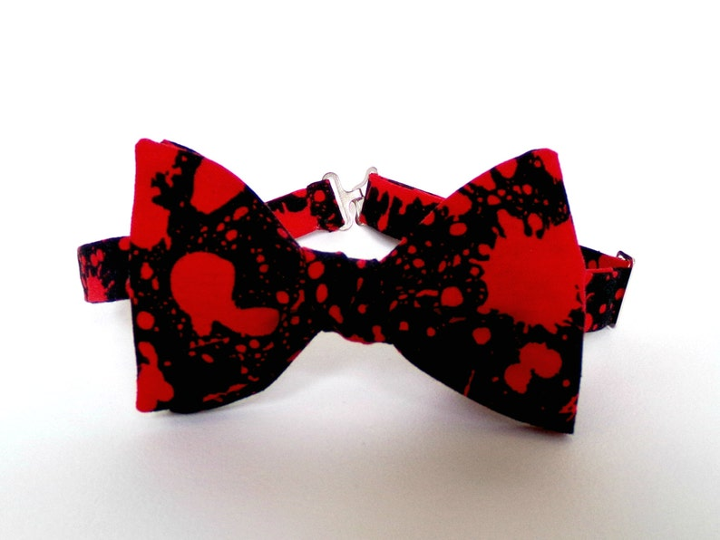 10acbae2a9a9 Blood Splatter Bow Tie Self Tie Red Black Horror Gift Zombie | Etsy