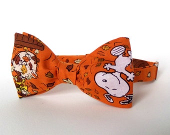 Halloween Charlie Brown Bow Tie Self Tie Autumn Fall Snoopy Orange Schultz Illustration Classic Cotton Boy Men Extra Long Various Sizes Neck