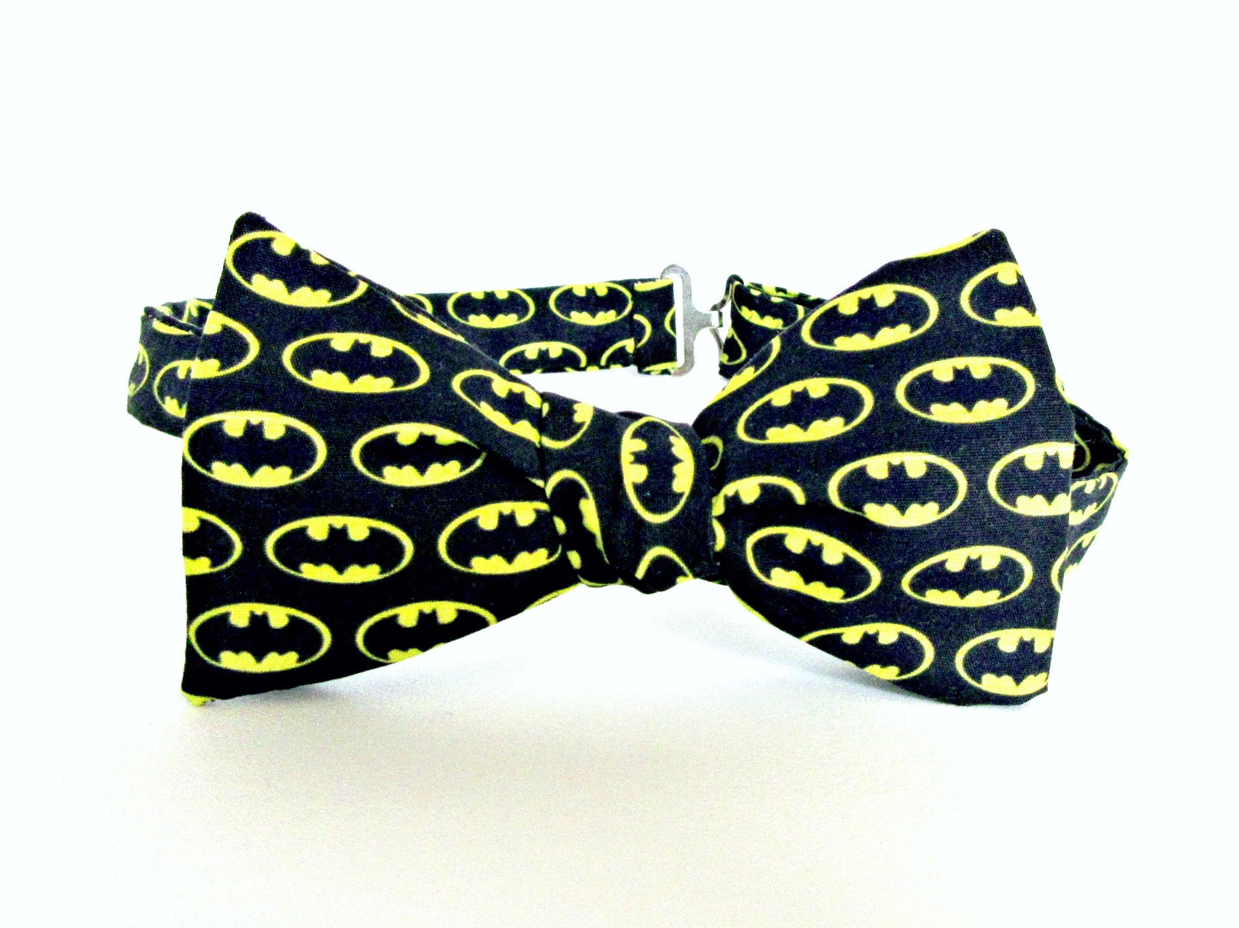 Batman Self Tie Bow Tie Bat Man Logo Bat Symbol Black Yellow Etsy