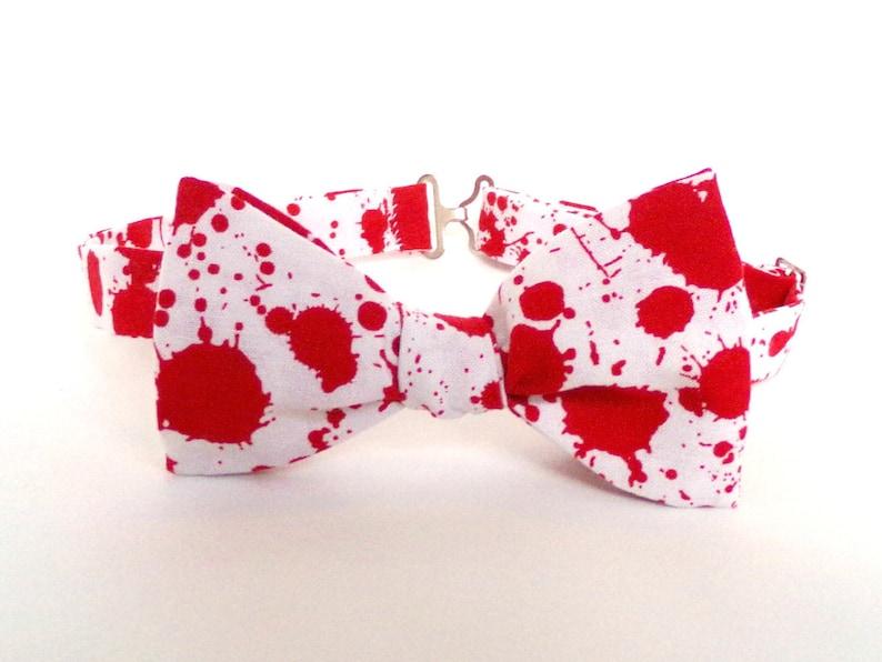 e0d9c46b4853 Blood Splatter Bow Tie White Self Tie Red White Horror Film   Etsy