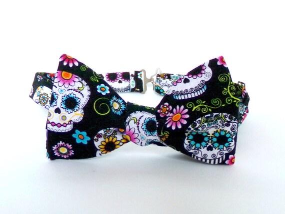 16a53aec443d Sugar Skull Bow Tie Self Tie Dia De Los Muertos Colorful Day | Etsy