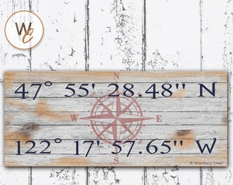 """Latitude Longitude Sign, Personalized 6""""x14"""" Rustic Sign, GPS Coordinates, Home Location, Housewarming Gift, Distressed Nautical Sign"""