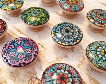 Set of 10 Turquoise Mandala on Black Knob Cabinet Knobs