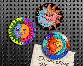 Sun and Moon Magnets, Gift Set, Fridge Magnets, Set of 3 Handmade Wood Refrigerator Magnets, Kitchen Decor, Housewarming Gift, Locker Decor