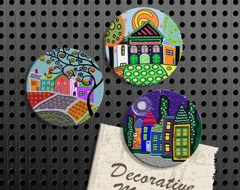 Whimsical House Magnets, Gift Set, Fridge Magnets, Set of 3 Handmade Wood Refrigerator Magnets, Kitchen Decor, Housewarming Gift