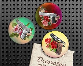 Gun and Roses Magnets, Gift Set, Fridge Magnets, Set of 3 Handmade Wood Refrigerator Magnets, Kitchen Decor, Western Magnets, Cowgirl Decor