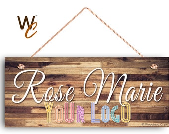 """Company Sign, Place Name and Logo on Sign, Personalized 6""""x14"""" Sign, Promote Business or Boutique, Rustic Darker Wood Style 5,"""