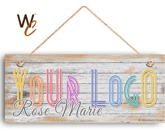 """Company Sign, Place Your Logo on Sign, Personalized 6""""x14"""" Sign, Promote Business or Boutique, Rustic Wood Style 3, Signs by Woodland Crew"""