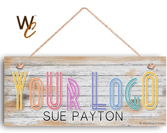 """Company Sign, Place Your Logo on Sign, Personalized 6""""x14"""" Sign, Promote Business or Boutique, Rustic Wood Style 2, Signs by Woodland Crew"""