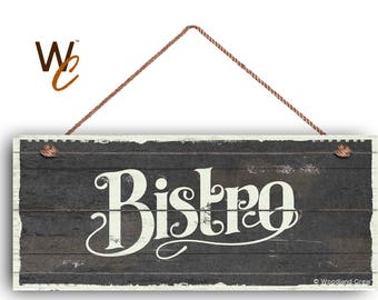 """Bistro Sign, French Cafe 6""""x14"""" Sign, Dark Gray Rustic Style Kitchen Sign, Housewarming Gift, Dining Sign, Signs by Woodland Crew"""