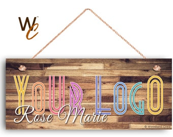 """Company Sign, Place Your Logo on Sign, Personalized 6""""x14"""" Sign, Promote Business or Boutique, Rustic Darker Wood Style 4,"""
