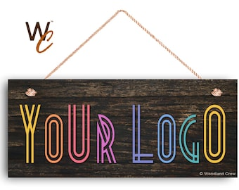 """Company Sign, Place Your Logo on Sign, Personalized 6""""x14"""" Sign, Promote Business or Boutique, Rustic Dark Wood Style, By Woodland Crew"""