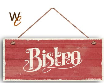 """Bistro Sign, French Cafe 6""""x14"""" Sign, Red Rustic Style Kitchen Sign, Housewarming Gift, Dining Sign, Signs by Woodland Crew"""