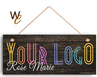"""Company Sign, Place Your Logo on Sign, Personalized 6""""x14"""" Sign, Promote Business or Boutique, Rustic Dark Wood Style 4b, By Woodland Crew"""