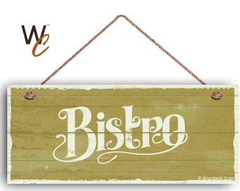 """Bistro Sign, French Cafe 6""""x14"""" Sign, Green Rustic Style Kitchen Sign, Housewarming Gift, Dining Sign, Signs by Woodland Crew"""