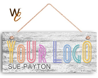"""Company Sign, Place Your Logo on Sign, Personalized 6""""x14"""" Sign, Custom Sign, Promote Business or Boutique, Rustic Wood Style,"""