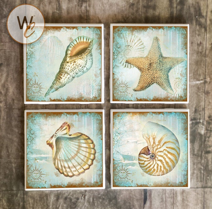 Shabby Sea Shell Coasters Florida Coast Ceramic Tile Etsy