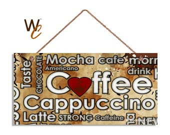 """Coffee Sign, Coffee Typography, 5"""" x 10"""" Sign, Mocha, Cappuccino, Latte, Valentine's Day Gift, Signs by Woodland Crew"""