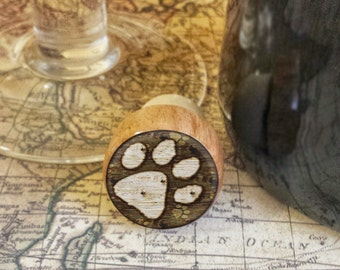 Dog Paw Wine Stopper, Handmade Paw Print Wood Cork, Dog Lover Bottle Stopper, Housewarming Gift,  Puppy Wood Cork Stopper