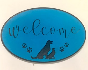 Engraved Welcome Dog and Cat Sign