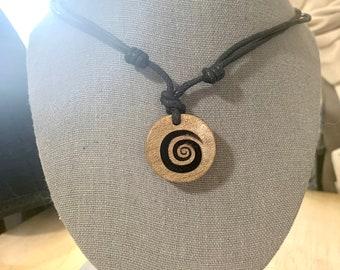 Adjustable Spiral Wood Necklace