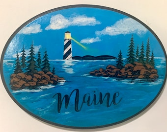Engraved Maine Lighthouse Sign