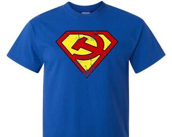 Superman Logo T-Shirt Parody Communist Marx Lenin Stalin Russian Revolution Left Leftist Activist Super Hero