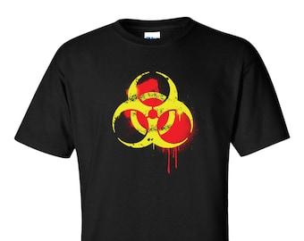 Biohazard Symbol T-Shirt Hardcore Toxic Waste Logo Spray Graffiti Men 8 Colors Tee S-XXL
