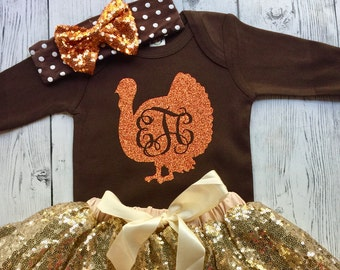 1st Thanksgiving Outfit, Baby Girl First Thanksgiving Dress, First Thanksgiving Set, Personalized Thanksgiving Outfit, Turkey Outfit