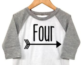 4th Birthday Shirt Boy, 4th Birthday Shirt, Boys Fourth Birthday Shirt, Four Birthday Shirt, Raglan Birthday Shirt with arrow Grey and White