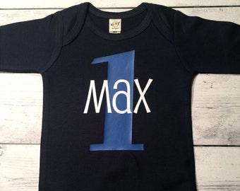 Boys First Birthday Outfit, First Birthday Boy, Boys First  Birthday Outfit, Personalized First Birthday Shirt, ,Boys Clothes,  Navy Shirt