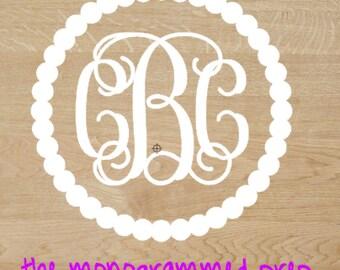 Vine Circle Monogram Car Decal Sticker