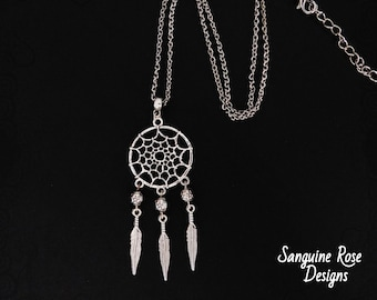 Dreamcatcher pendant etsy dreamcatcher gothic necklace silver wicca necklace pagan pendant various lengths silver chain pendant aloadofball Choice Image
