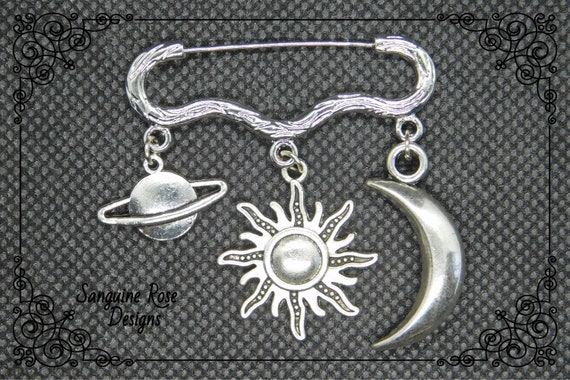 Celestial Jewelry Druzy Moon Witch Wiccan Pagan Silver Moon and Star Charms Brooch Pin Alternative Gift Solar System Galaxy