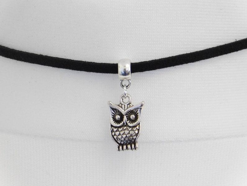 Various Sizes Boho Choker OWL CHOKER NECKLACE Handmade Adjustable Dainty Owl Choker Pagan Choker Black Velvet Choker