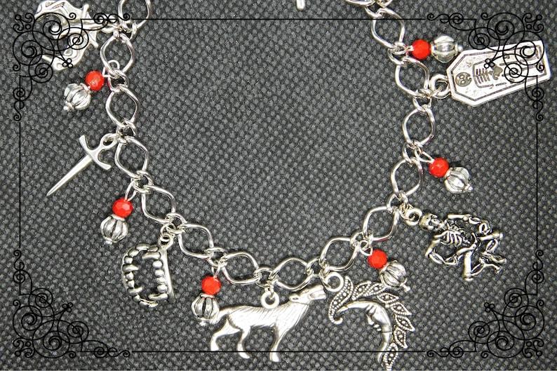 e3151de437c40 VAMPIRE CHARM BRACELET, Gothic Charm Bracelet, Red Beaded Bracelet, Vampire  Jewellery, Mythical Jewellery, Mythical Bracelet, Various Length