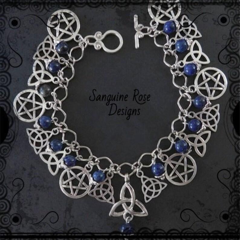 Pagan Wicca Lapis Charm Bracelet LAPIS LAZULI TRIQUETRA Charm Bracelet