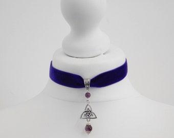 Wicca Triquetra Amethyst Purple Velvet Celtic Choker Necklace Pagan Wicca
