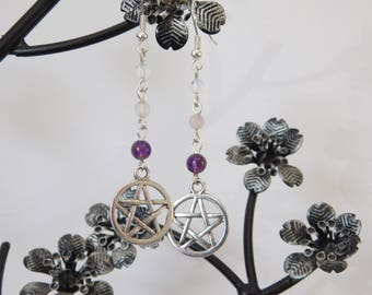 PENTAGRAM GEMSTONE EARRINGS, Amethyst Rose Quartz Moonstone Earrings, Pagan Earrings, Wicca Earrings, Long Dangle Drop Earrings