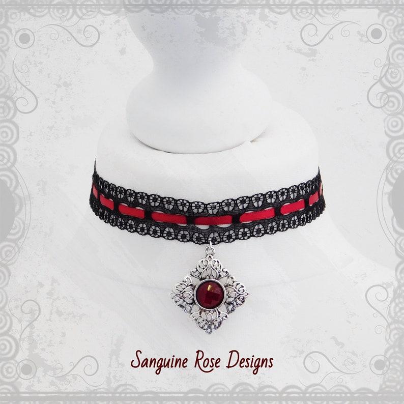 Black Velvet Fashion Choker//Necklace Celtic Cross Red Rose Pendant Gothic UK