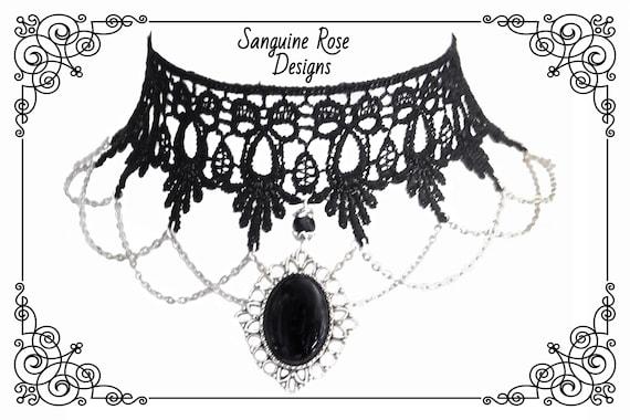 HENJOY black flower lace pattern choker