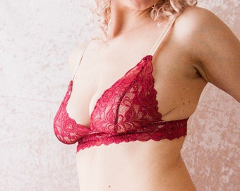 Cranberry Red Lace Triangle Bra