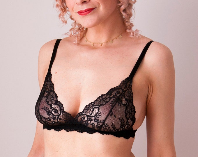 Black lace triangle bra
