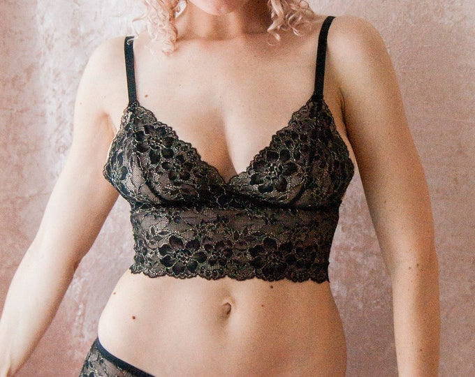 Black and Gold Lace Triangle Bra